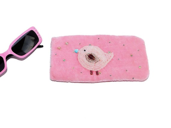 Pink Eyeglasses Case with Bead Embroidered Cute Bird with Silk Lining for Reading Glasses or Sunglasses