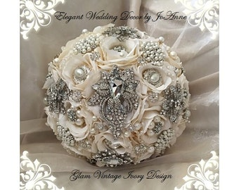 Ivory and Silk Brooch Bouquet, DEPOSIT ONLY, Custom Ivory Brooch Bouquet,  Vintage Style Brooch Bouquet, Ivory Wedding Bouquet, Keepsake