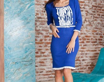 "Knitted blue dress ""Sea foam"" juicy blue with ruffles, feminine dresses for the ladies, midi dress"