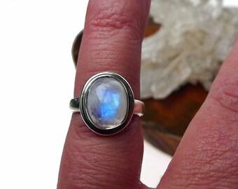 Rainbow Moonstone Ring, Sterling Silver Ring with Moonstone, Solid Sterling Silver and Genuine Rainbow Gemstone Ring - U.S. Size 4 - SE-175
