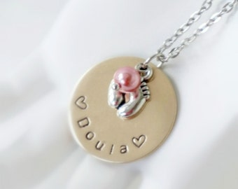 Doula Gift Hand Stamped Disk Necklace - Feet Charm - Choice of Pearl
