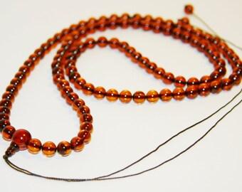 Genuine Baltic Amber Mala Prayer 108 beads 7 mm. 21 gr. cognac 佛教琥珀念珠