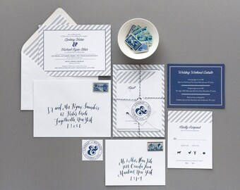 Skaneateles Invitation Suite SAMPLE | Grey and Navy Nautical Stripe | Ampersand |  Preppy Wedding | Clean + Classic Design | Sample Only