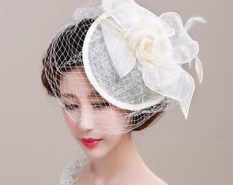 Vintage Style Bridal Hat, Wedding Veil, Birdcage Veil, Style #283