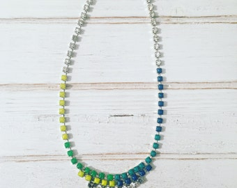 Vintage rhinestone neon handpainted necklace