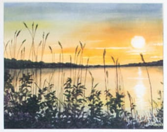 Limited Edition Digital Fine Art Print, 11 X 14, Emma Lake Sunset, Signed and Numbered by Jen Unger.