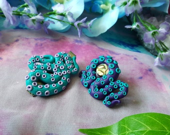 Turquoise and purple tentacle hair clip with Abalone