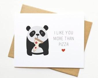 Panda Pizza Valentine's Day Nom Foodie Card