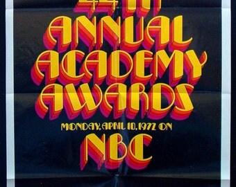 44th Academy Awards original vintage 1972 poster Oscars