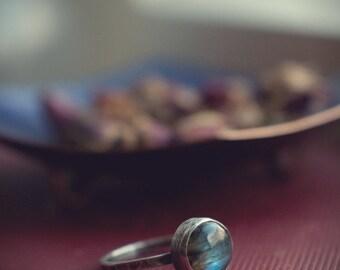 Labradorite stacking ring, oxidised hammered sterling silver, simple labradorite ring, gemstone stacking ring, blue flash labradorite.