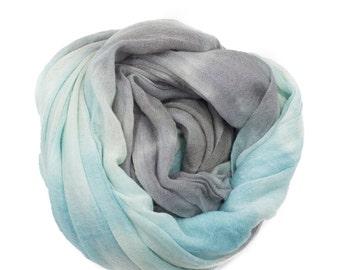 Shibori Dyed Wool Scarf - Seaform/Charcoal