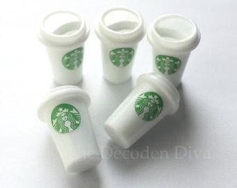 Mini Plastic Starbucks Cups - 5 pcs | Kawaii Decoden Supplies | Resin Cabochons | Miniature Sweets | DIY Phone Case