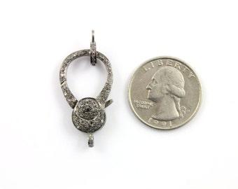 Pave Diamond Lobster Clasp, .925 Oxidized Sterling Silver Diamond Findings, handmade pave diamond clasp  (DC-014)