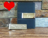 VALENTINE'S DAY SPECIAL - Free double sided engraving- Personalized Money Clip and Card Holder- Free Gift Wrapping - Gifts for Men -
