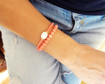 Coral bracelet set, faceted pink coral jewelry gemstone bracelet set mother to be gift ideas girl baby shower gift best friend birthday gift