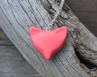 Salmon Rasberry Pink Fox Necklace. Finnish Design Polymer Clay. Glossy Finish. MADE TO ORDER