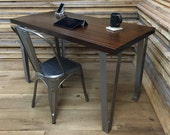 QUICK SHIP-Wicked cool contemporary/urban loft style desk featuring sapele mahogany with stainless steel legs.