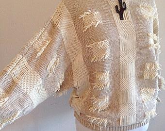 Vintage 1990s Boho Southwestern Fringe Sweater Ladies Size Medium