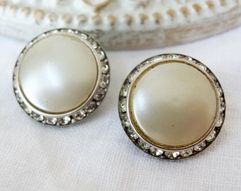 pearl clip on earrings silver crystal vintage antique jewelry