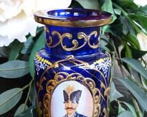 19th Century Antique Persian Shah Ottoman Qajar Cobalt Blue Glass Decanter Jar Vase Perfume Scent Bottle Hookah Base Bohemian Moser Glass ?