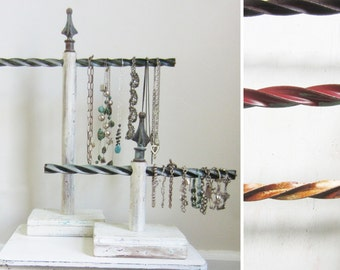 ONE Metal Twist Necklace OR Bracelet Display - Available in Brown / Red / Cream / Green /  Architectural Salvage Jewelry Stand Qty Available