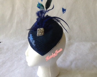 Navy Feather Wedding Fascinator Hat, Navy Bridal Fascinator, Navy Feather Fascinator,  Dark Blue Fascinator, Ladies Day Racing Hats