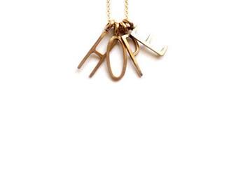 HOPE Charm Necklace, Alphabet Charm Necklace, HOPE Pendant Necklace, HOPE Necklace