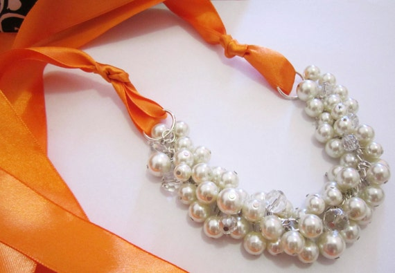 Bridesmaid Necklace - Ivory Pearl Necklace and Orange Ribbon - Bridesmaid Jewelry, Ribbon Necklace Chunky, Cluster Necklace, Bridesmaid Gift