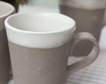 Grey and white mug