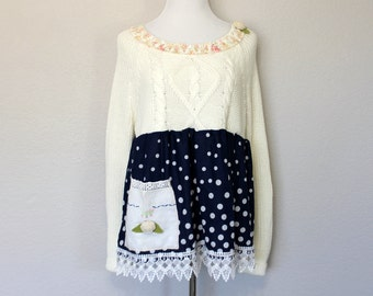 Sweater Shabby Women's Upcycled Top White Navy Blue Polka Dot Shirt Ladies Size 14 XL Clothing Linen Pocket
