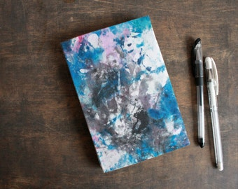"Upcycled Textile Bound Journal ""Blue Splash"" from Letterpress Ink Rags"