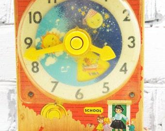 Fisher Price Wooden Teaching Clock. Circa 1960's.  Childhood Memories. Vintage Nursery. Old School Toys. Simpler Times.