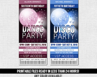 DANCE PARTY TICKET Invitations Birthday Disco - Any Color, Any Age - (print your own) Personalized Printable Files - Quinceanera, Sweet 16