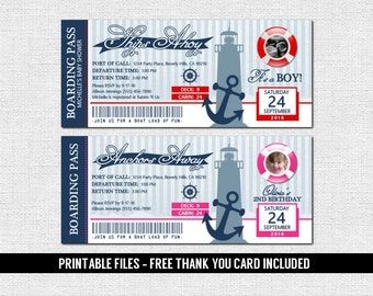 NAUTICAL BOARDING PASS Invitations + Thank You Card - Birthday or Baby Shower Invite (Printable Files) Cruise Ship Boat Ticket - Red or Pink