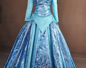 Sleeping Beauty Aurora Blue Silver Brocade Adult Cosplay Costume Ball Gown Dress
