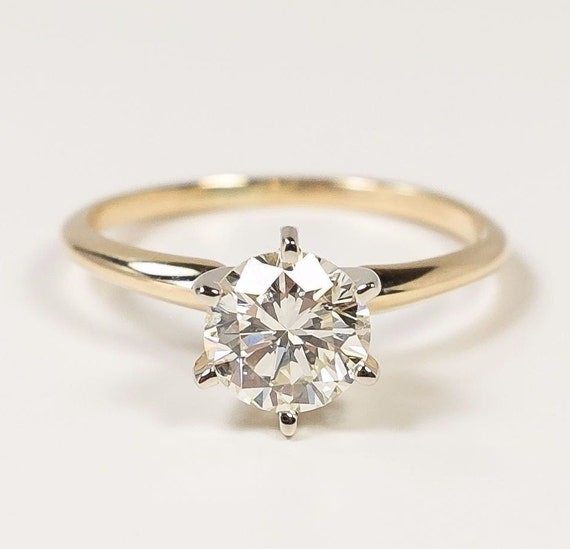 Delicate Classy 14K Yellow Gold GIA Certified 0.99ct SI1 Clarity M Color Round Brilliant Diamond Solitaire Engagement Ring FREE SHIPPING!