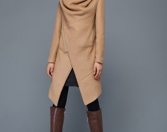 Brown wool coat women's coat warm coat winter coat c 959