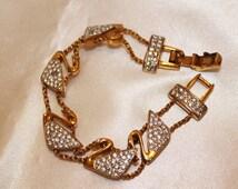 Charming Vintage Designer SWANS Pave SWAROVSKI Bracelet BRL