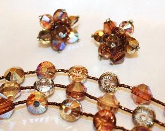 VENDOME Couture Designer Brown AMBER Topaz Aurora Borealis Brioli Bracelet Earring Set SD