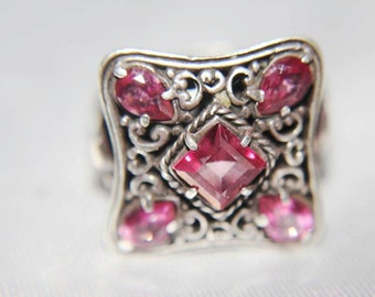 SALE! Massive Stupendous Vintage Sterling Silver Indonesia Simulated Pink Sapphire Ring