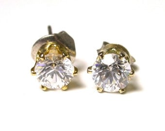 Mock Diamond Post Back Earrings - Studs Cubic Zirconia Earrings # 1163