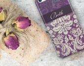 Women's fashion accessory, Monogram Iphone 6 case, Floral iPhone 5c case, Boho iPhone 5 case, Pretty Iphone 5s case cute Purple damask (9698