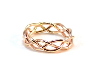 Gold Braided Ring - Strength Unity Love Braid - Alternative Wedding Band - Unique Statement Ring