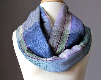 Plaid Infinity Scarf , blue , lilac scarf, circle scarf, loop scarf, eternity scarf, pashmina scarf , Christmas gift