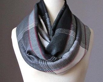 Plaid Infinity Scarf , grey scarf, grey infinity scarf, eternity scarf, pashmina scarf , Christmas gift, gift for her