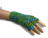 Green and Blue Alpaca Wool Gloves