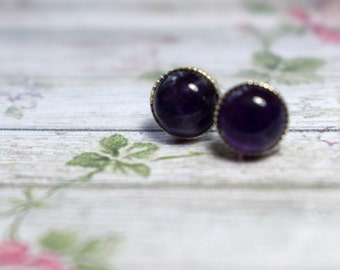 Amethyst and Silver Studs, Small Sterling Silver Earrings, Silver and Gemstone Studs, Purple Stud Earrings,