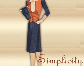 Simplicity 4177 Vintage 1940s Dress Pattern WWII Swing Era One Piece Career Dress Uncut Factory Folded 32 Bust