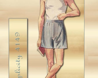 Simplicity 4149 1950s Mens Boxer Shorts Pattern with Fly Front Closure Waist 34