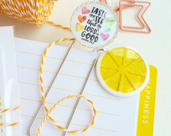citrus yellow / taste and see - inspirational planner /bible journaling jumbo paper clip